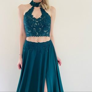 Faviana Jersey two-piece with lace top Gown prom